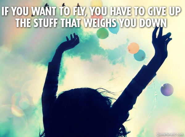if you want to fly, you have to give up the stuff that weighs you down